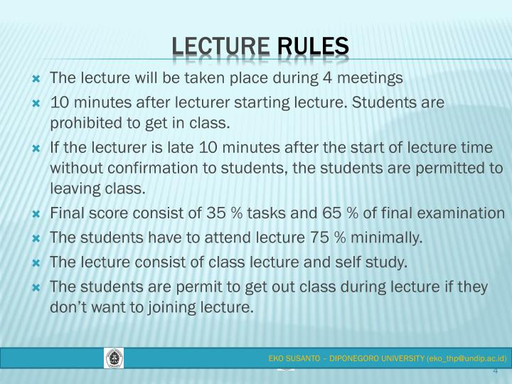 The lecture will be taken place during 4 meetings