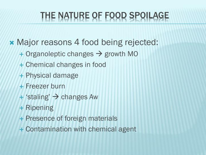 Major reasons 4 food being rejected: