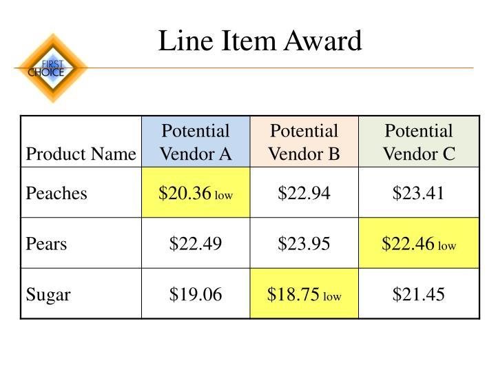 Line Item Award