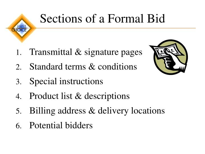 Sections of a Formal Bid