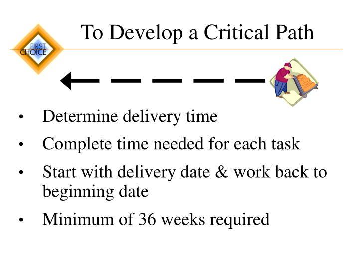 To Develop a Critical Path