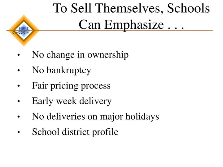 To Sell Themselves, Schools Can Emphasize . . .