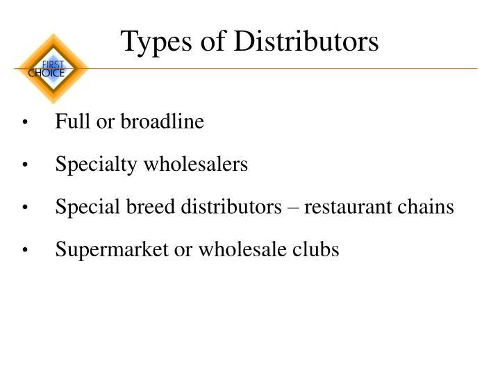 Types of Distributors