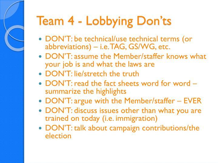 Team 4 - Lobbying Don'ts