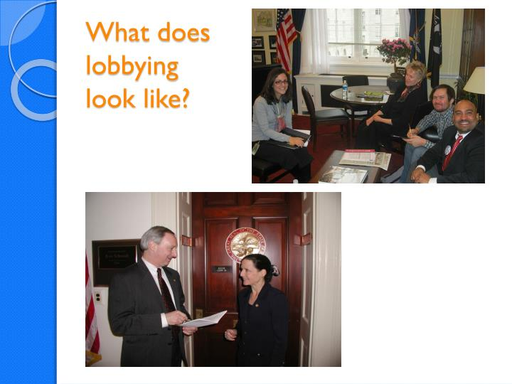What does lobbying look like