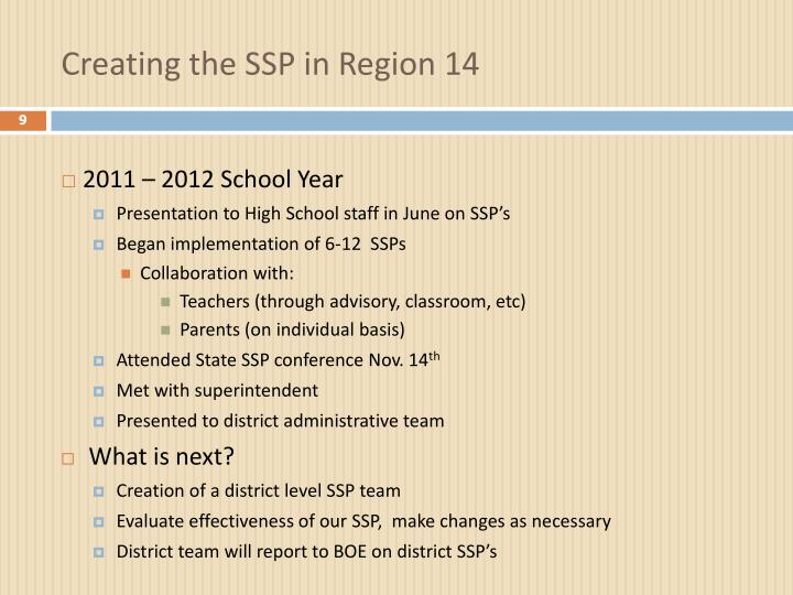 Creating the SSP in Region 14
