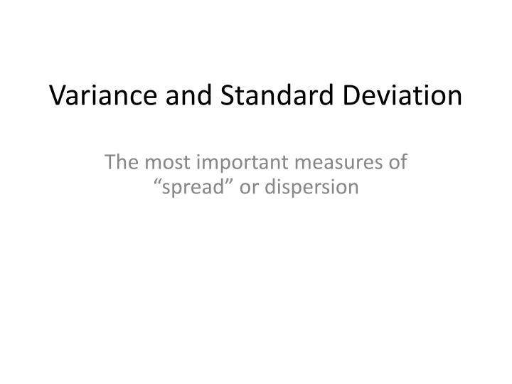 variance and standard deviation n.