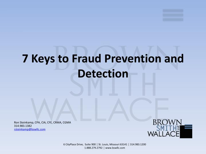 7 keys to fraud prevention and detection n.