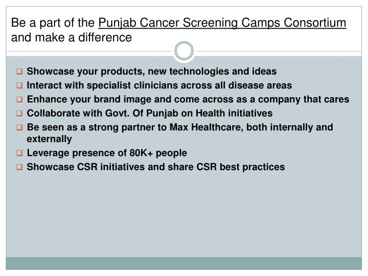 be a part of the punjab cancer screening camps consortium and make a difference n.