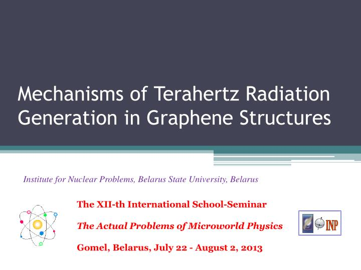 PPT - Mechanisms of Terahertz Radiation Generation in