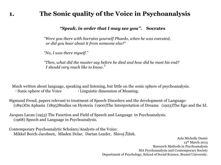 1 the sonic quality of the voice in psychoanalysis