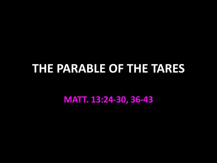 the parable of the tares n.