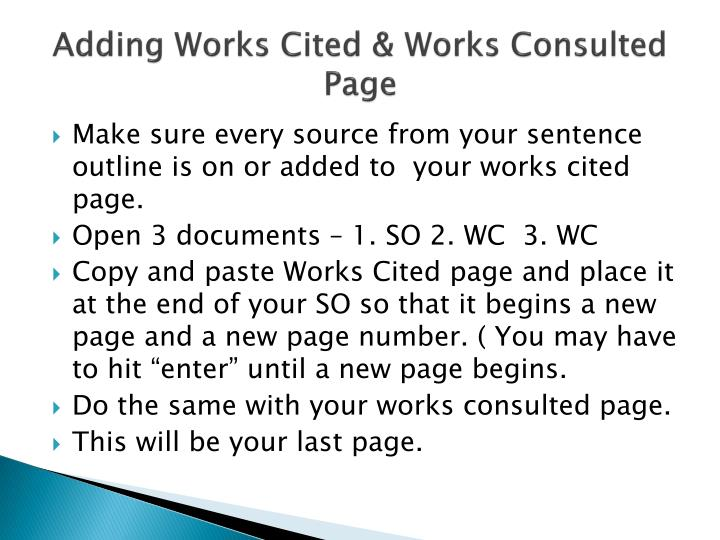 adding works cited works consulted page n.