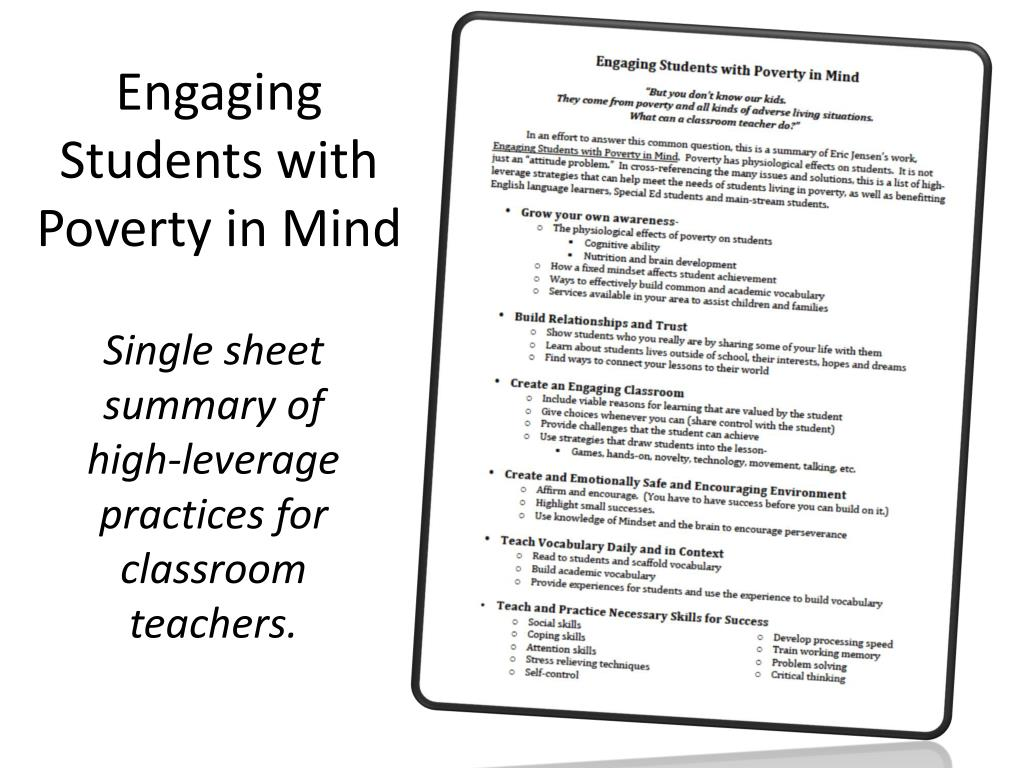 Engaging students with poverty in mind powerpoint