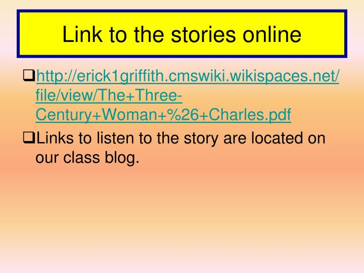 Link to the stories online