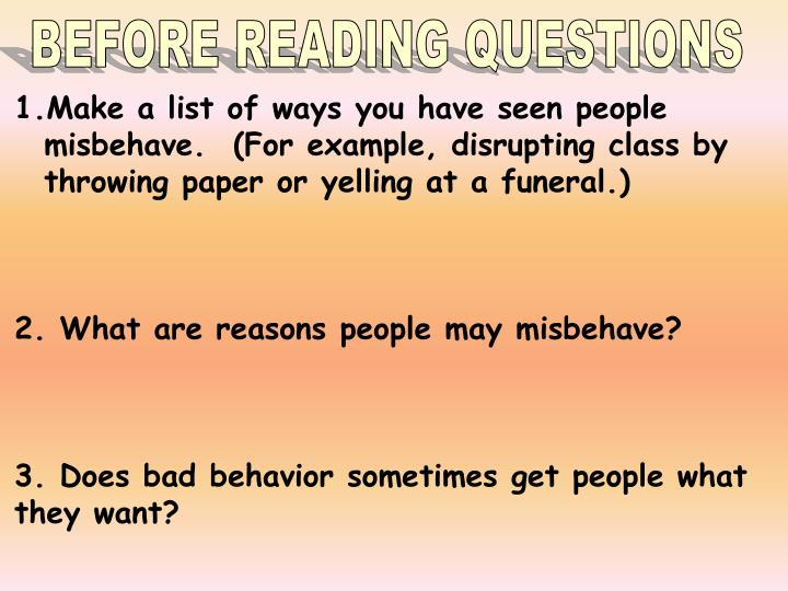 BEFORE READING QUESTIONS