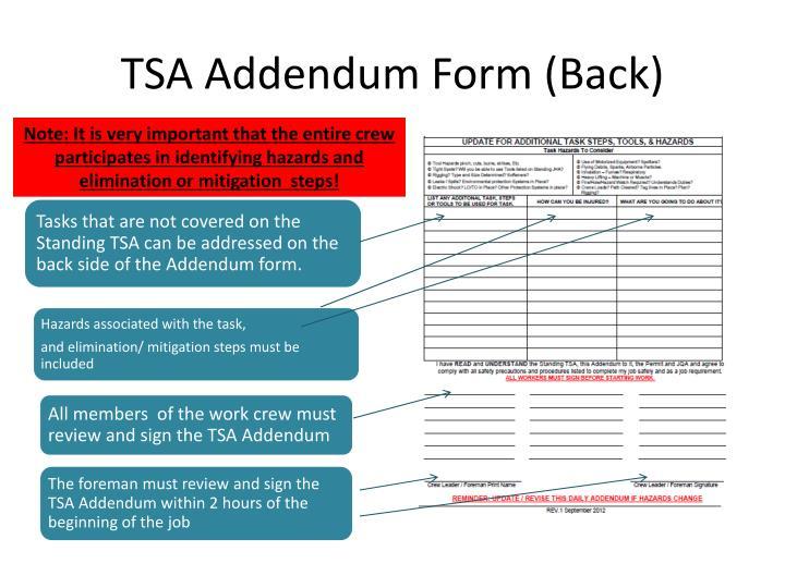 TSA Addendum Form (Back)