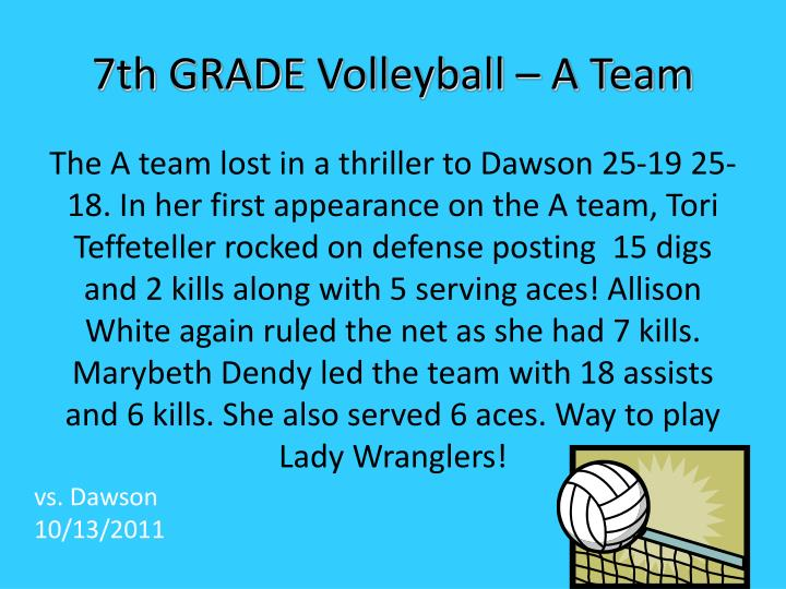 7th grade volleyball a team n.