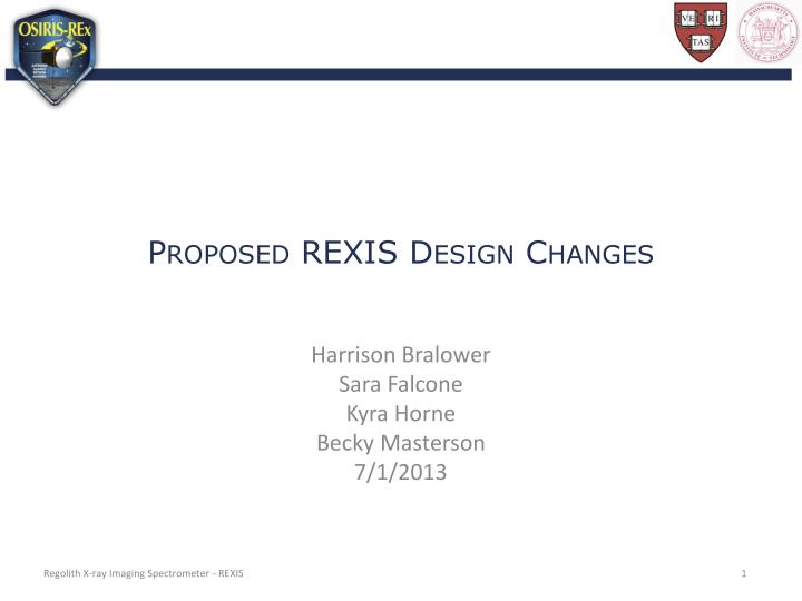 proposed rexis design changes n.