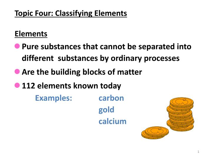 topic four classifying elements elements n.