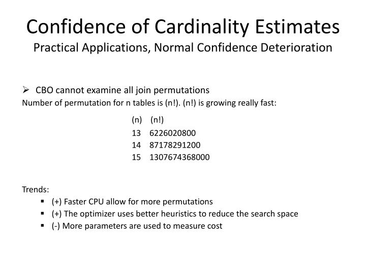 Confidence of Cardinality Estimates