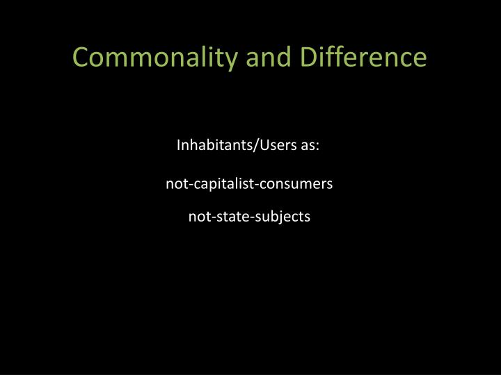 Commonality and Difference