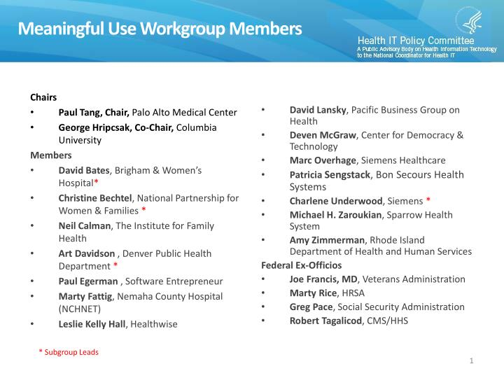 Meaningful use workgroup members