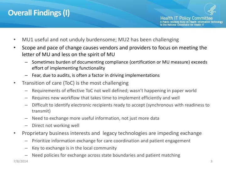 Overall Findings (I)