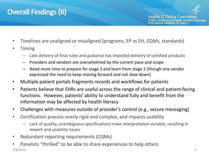 Overall Findings (II)