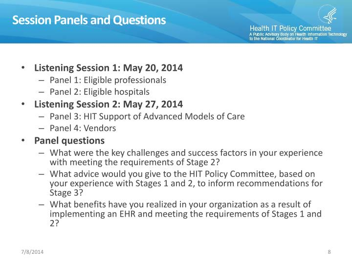 Session Panels and Questions