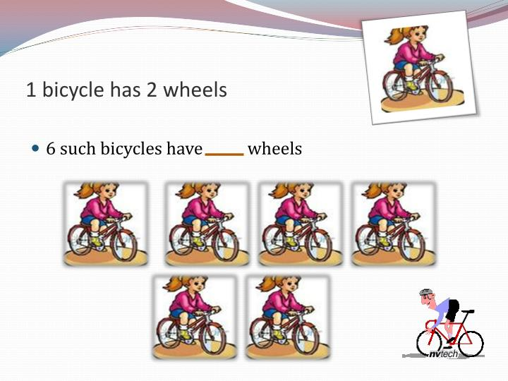 1 bicycle has 2 wheels