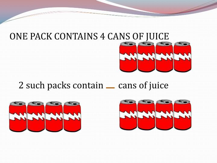 ONE PACK CONTAINS 4 CANS OF JUICE