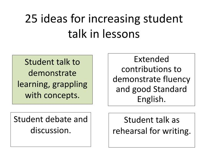 25 ideas for increasing student talk in lessons
