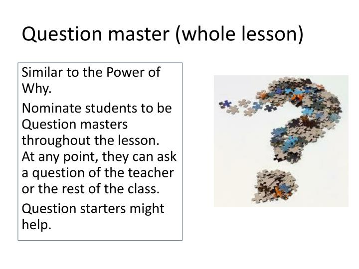 Question master (whole lesson)