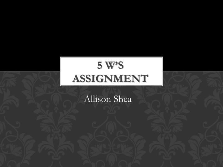 5 w s assignment n.