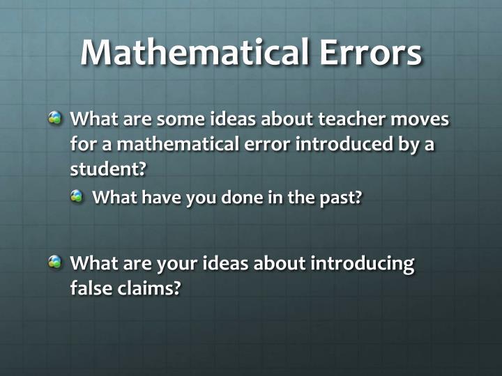 Mathematical Errors