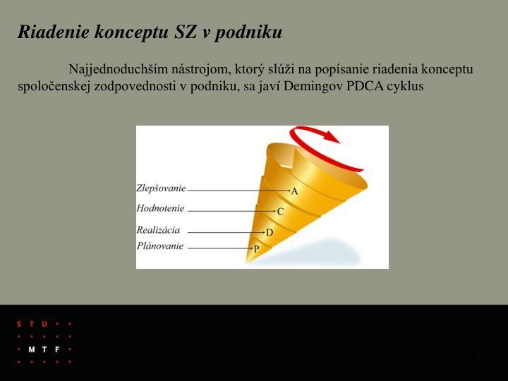 Riadenie konceptu SZ v