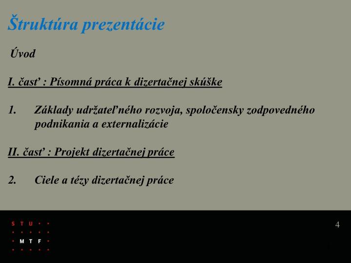 Štruktúra prezentácie