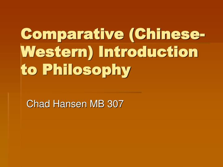 comparative chinese western introduction to philosophy n.