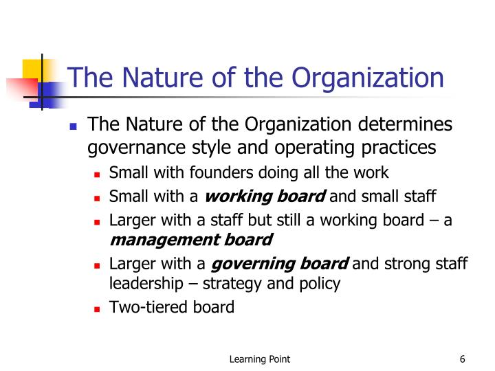The Nature of the Organization