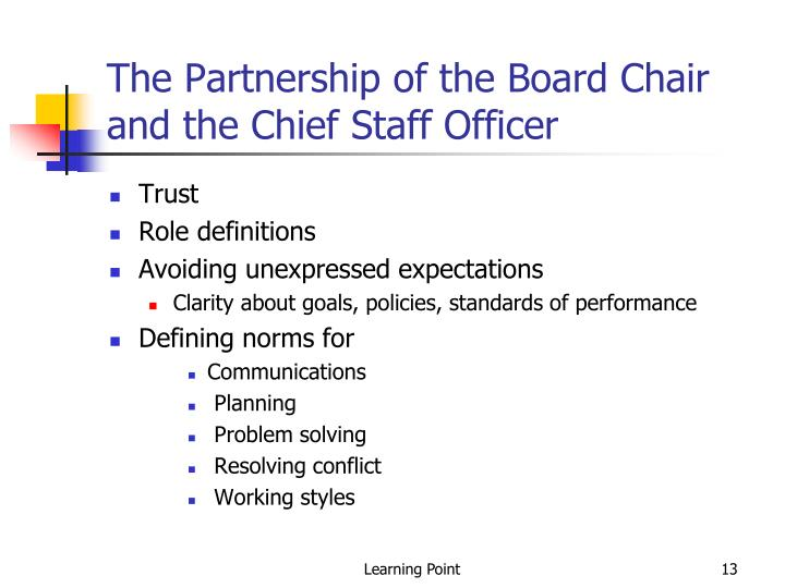 The Partnership of the Board Chair and the Chief Staff Officer