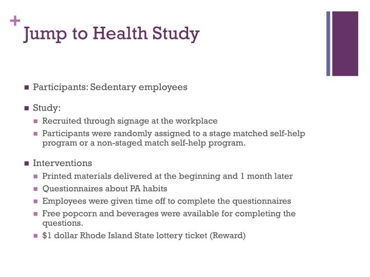 Jump to Health Study