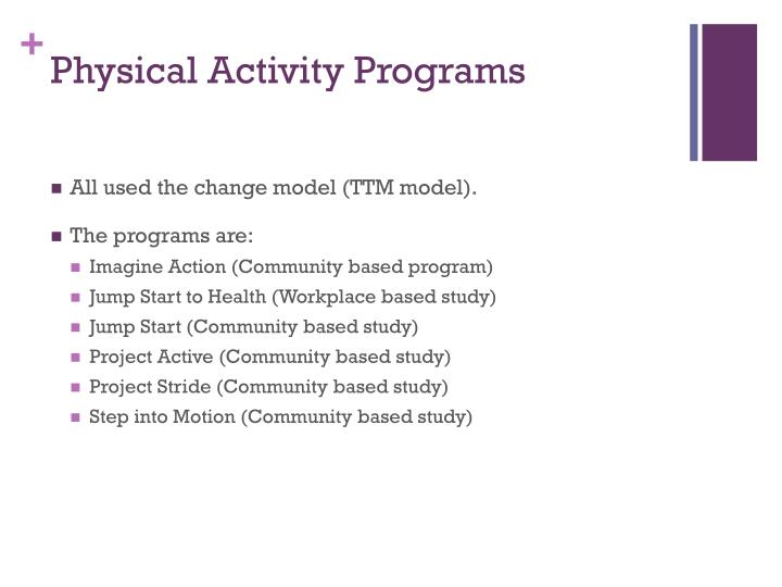 Physical activity programs