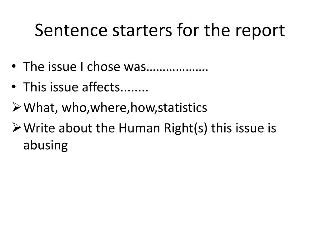 PPT - Sentence starters for the report PowerPoint Presentation - ID ...
