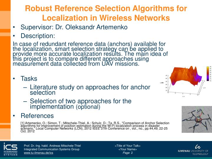 Robust reference selection algorithms for localization in wireless networks