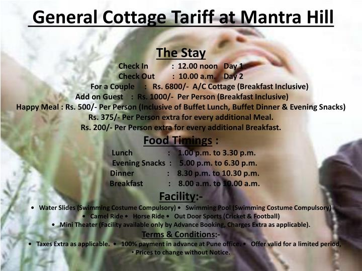 general cottage tariff at mantra hill n.