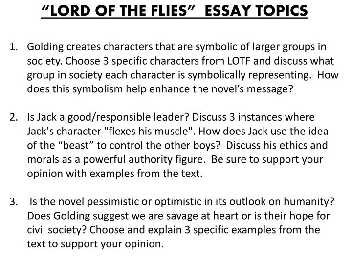Lord of flies essay