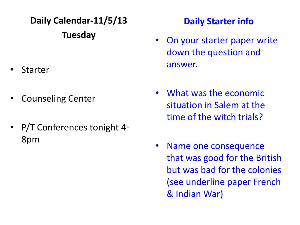 PPT - Starters U  S  History 2 nd Trimester PowerPoint