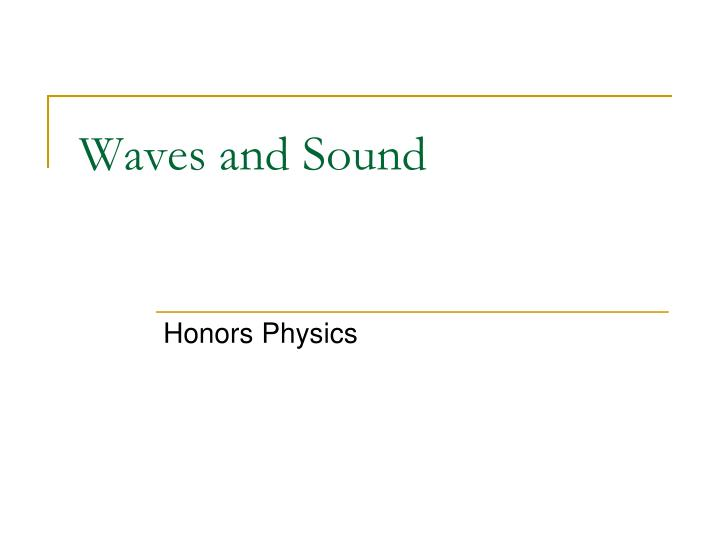 waves and sound n.