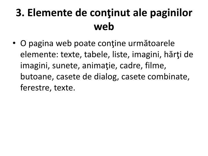 3. Elemente de conţinut ale paginilor web